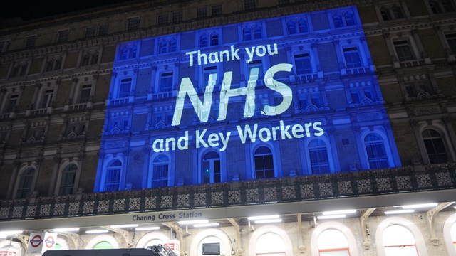 VIDEO: Landmark stations in London turn blue in support of our NHS heroes - and a famous voice joins in thanking them too...: Charing Cross