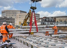 Sleepers lifted into place at LBG: Sleepers are lifted into place just outside platforms 1 and 2 at London Bridge station. These will form part of the new lines 1 and 2 due to be commissioned over the Easter weekend.