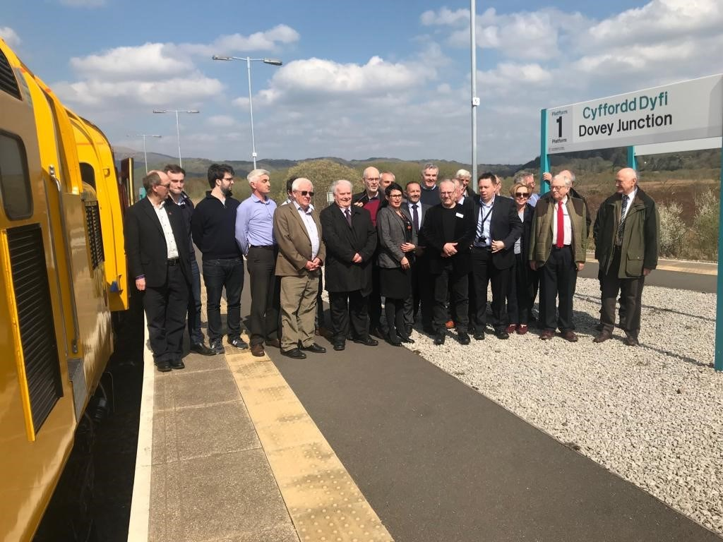 Representatives from Network Rail, Transport for Wales and other industry bodies at the naming ceremony