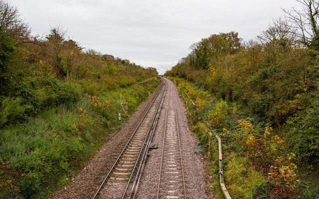 New track - freshly laid and awaiting tamping and live rail