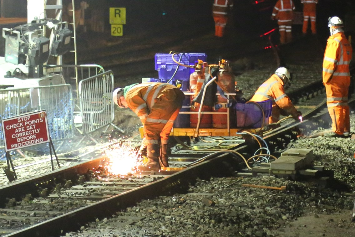 Passengers in Wales urged to check before they travel ahead of new timetable and Christmas upgrades: Cutting out track panels at Cardiff Central station
