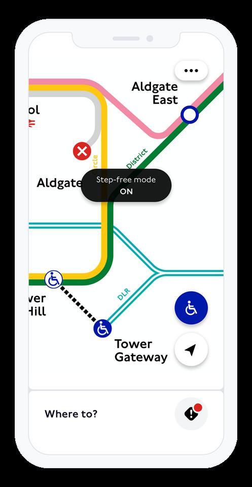TfL Go - Step-free mode iPhone 11