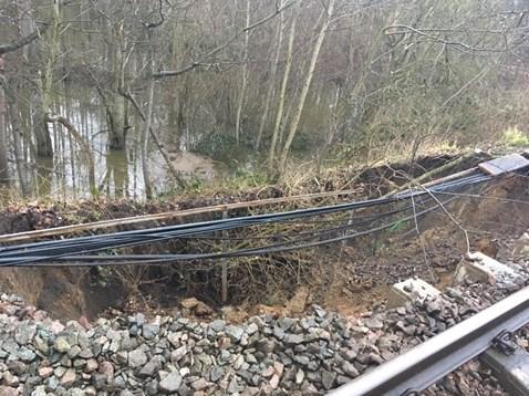 Damage caused by landslip at Thorrington