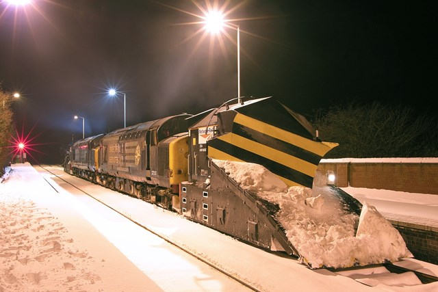 Snowplough at Humanby, Hull to Scarborough, Dec 2