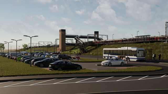 Reston station car park: This is an artist's impression (AI) of the proposed Reston station viewed from car park access road.