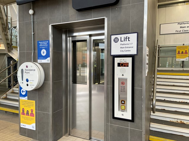 Lift at Pride Park entrance of Derby station