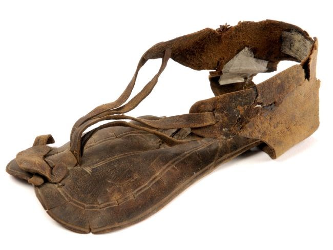Child's Roman leather sandal: A child's Roman leather sandal found at Dalton Parlours. The sandal is very well preserved with the decoration on the insole still visible. Code Cracker players will discover fascinating facts about ancient Rome