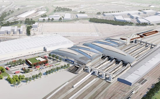 HS2 could provide green energy to hundreds of new homes: Old Oak Common Station Aerial February 2020