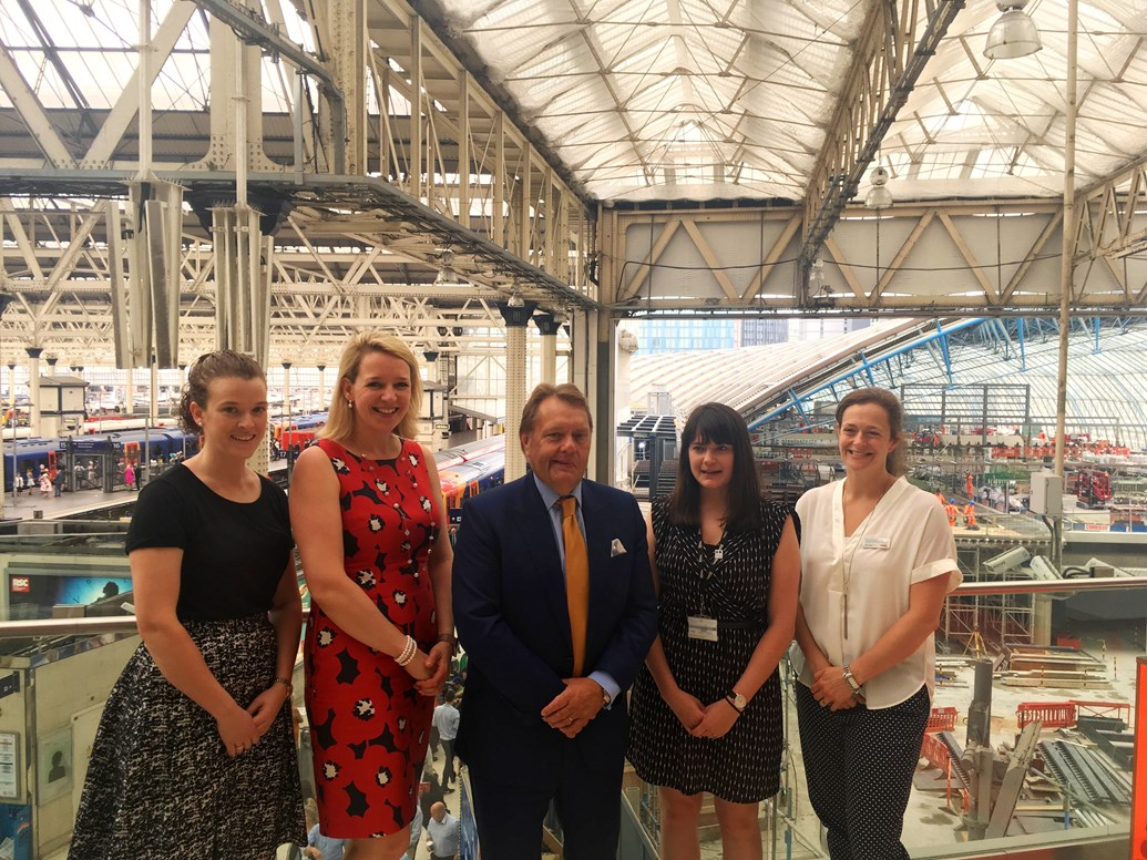 Network Rail engineers join Minister to call on young women to pursue careers in engineering: (l-r) Anne Browne, Network Rail; Becky Lumlock, Network Rail; John Hayes MP; Alison Farwell, Network Rail; Miriam Maclennan, Network Rail.