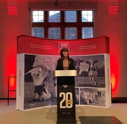 Lesley Griffiths addressing FUW Farmhouse Breakfast