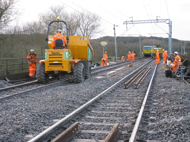 Track replaced over the Trent and Mersey Canal bridge near Stafford