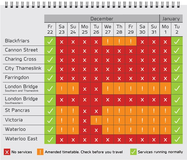 Christmas calendar: Christmas services affected by the Thameslink Programme.