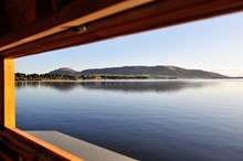 View over Loch Leven National Nature Reserve to the Lomond hills from the bird hide at Burleigh.©Lorne Gill: View over Loch Leven National Nature Reserve to the Lomond hills from the bird hide at Burleigh.©Lorne Gill