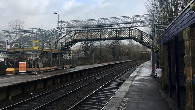 Platform view of New Mills Newtown footbridge during restoration work