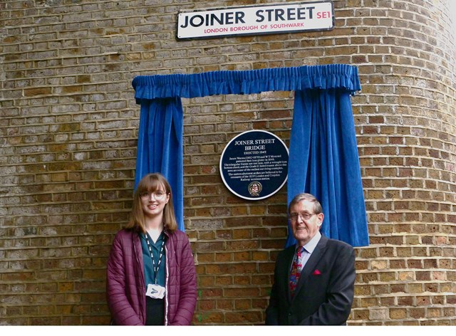 Joiner Street Plaque Unveiling: Emma Burrell, Network Rail environment specialist and Jim Cornell, chairman of the Rail Heritage Trust.