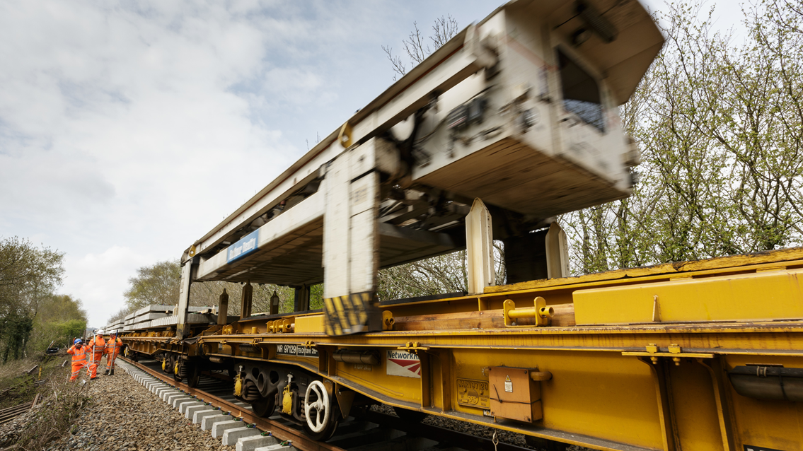 The NTC (new track construction) machine in action on the Dartmoor Line