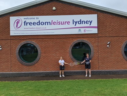 Freedom Leisure Lydney - kit out the nation - outside: Staff at Freedom Leisure Lydney supporting Kit out the Nation