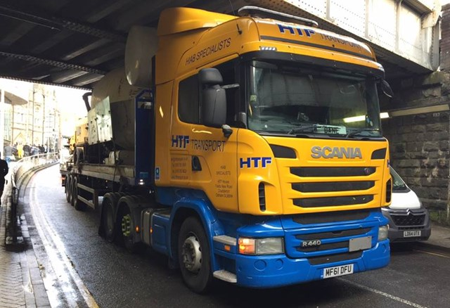 A lorry strikes Penarth Road Bridge in Cardiff