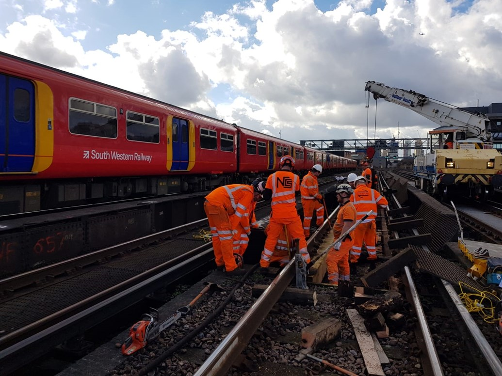 South Western Railway passengers urged to check before travelling ahead of early May bank holiday weekend: Engineering at Waterloo- March