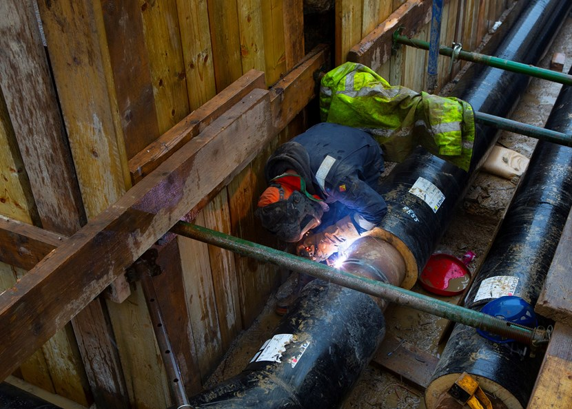 St James's Hospital and Quarry House to be connected to Leeds district heating network: Leeds PIPES DH Welding 2