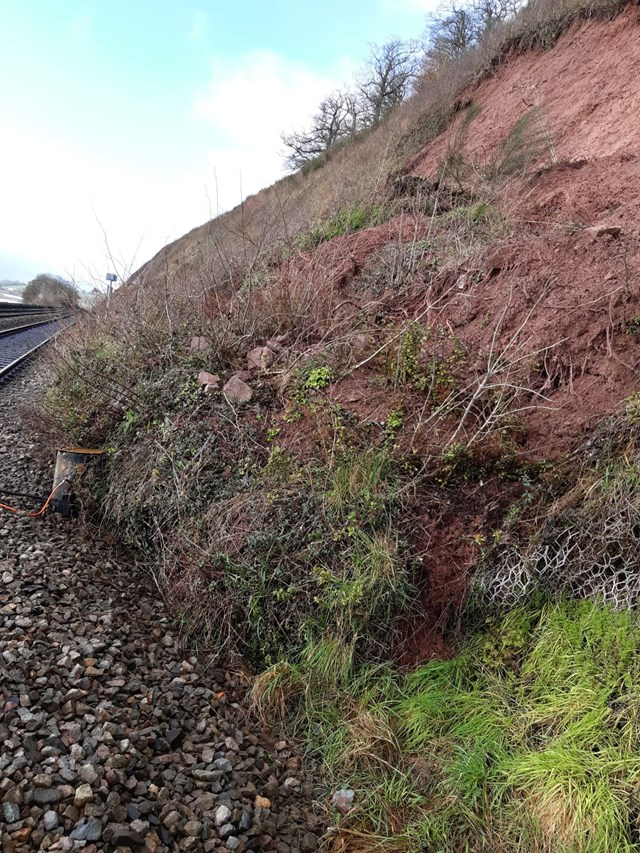 Passengers between Gloucester and Chepstow are urged to check before travelling this weekend as Network Rail undertakes emergency work following storm damage: Lydney Feb 2020
