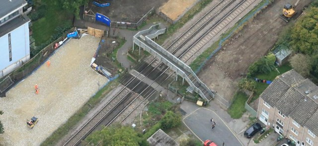 Tovil aerial picture: The existing level crossing and footbridge at Tovil, Maidstone