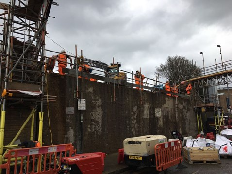 Fairfield Bridge replacement - abutment edge protection installed -