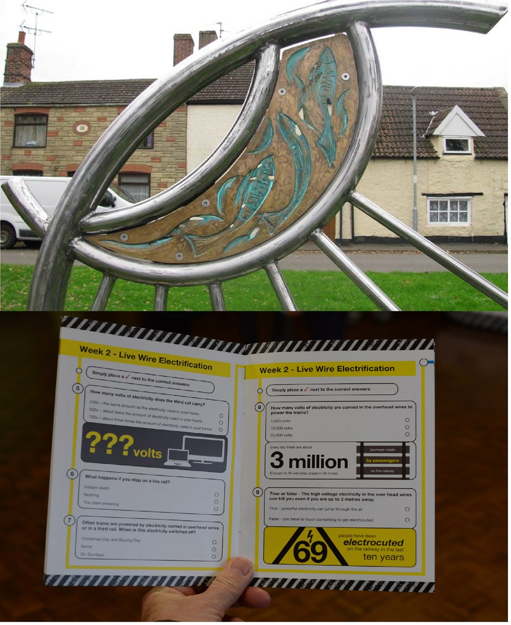 Network Rail to carry out community project in Corby: Network Rail to deliver community project in Corby. Top image: Sculpture by Richard Janes, community artist. Bottom image: Example of classroom materials from Tackling Track Safety
