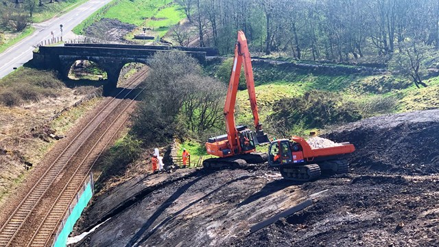 Work progressing to improve journeys on Buxton to Manchester railway line: Buxton embankment work taking place (1)