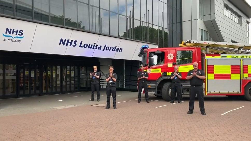 Scottish Fire and Rescue Service at NHS Louisa Jordan Screengrab