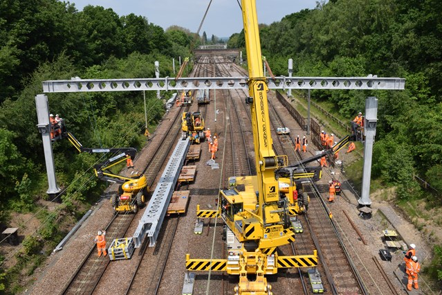 Railway upgrade work to deliver significant improvements for passengers in London, Norfolk, Suffolk and Essex: Installation of overhead gantries at Shenfield  239403