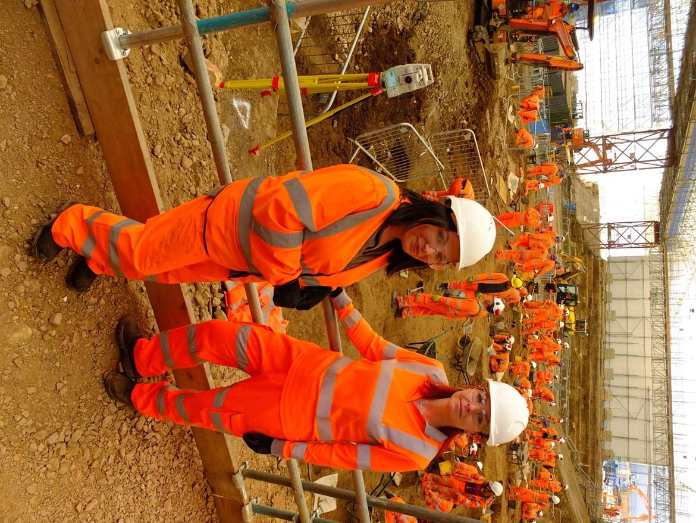 Dr Yasmin Khan and Professor Alice Roberts at St James's Gardens September 2020: Credit: Lion Studios (Euston, archaeology, skeleton, Britains biggest dig)