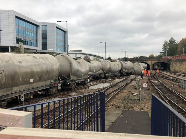 Freight train derailment in Sheffield