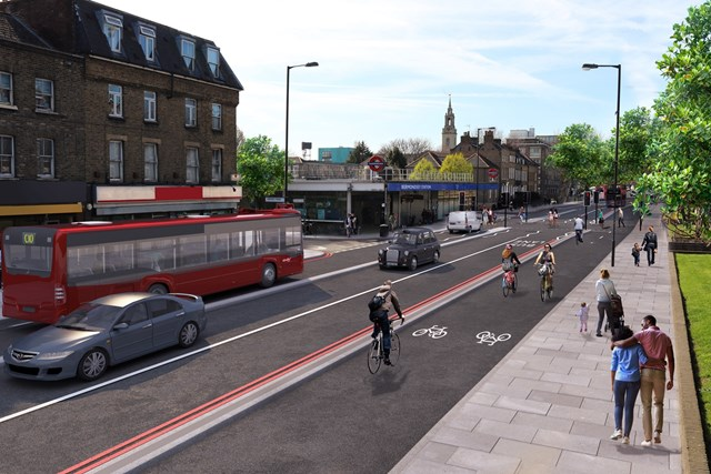 TfL Image - CGI of Cycleway 4 on Jamaica Road - copyright Transport for London