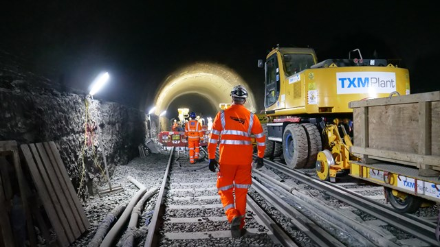 Kent and South London rail passengers urged to plan ahead this Easter: Walking to work in Polhill Tunnel, Kent, over the Bank Holiday