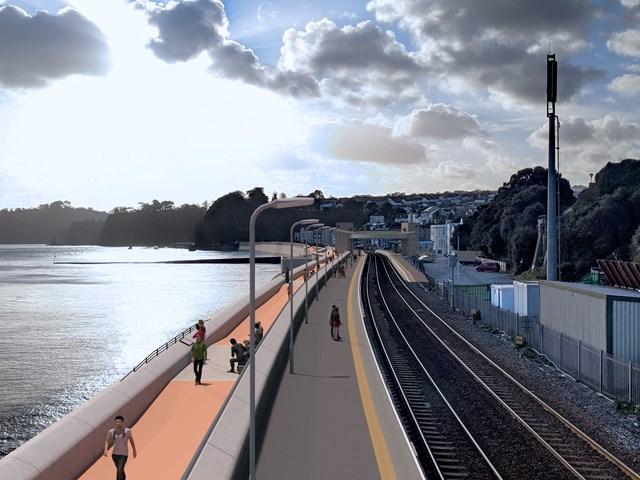 New promenade view towards accessible footbridge