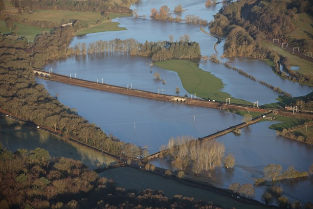 Flooded land around West Coast main line at Colwich in Staffordshire