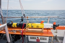 The underwater robot camera belonging to the team at Woods Hole Oceanographic Institution (WHOI), which can follow a tagged basking shark © Jane Morgan  WWF UK
