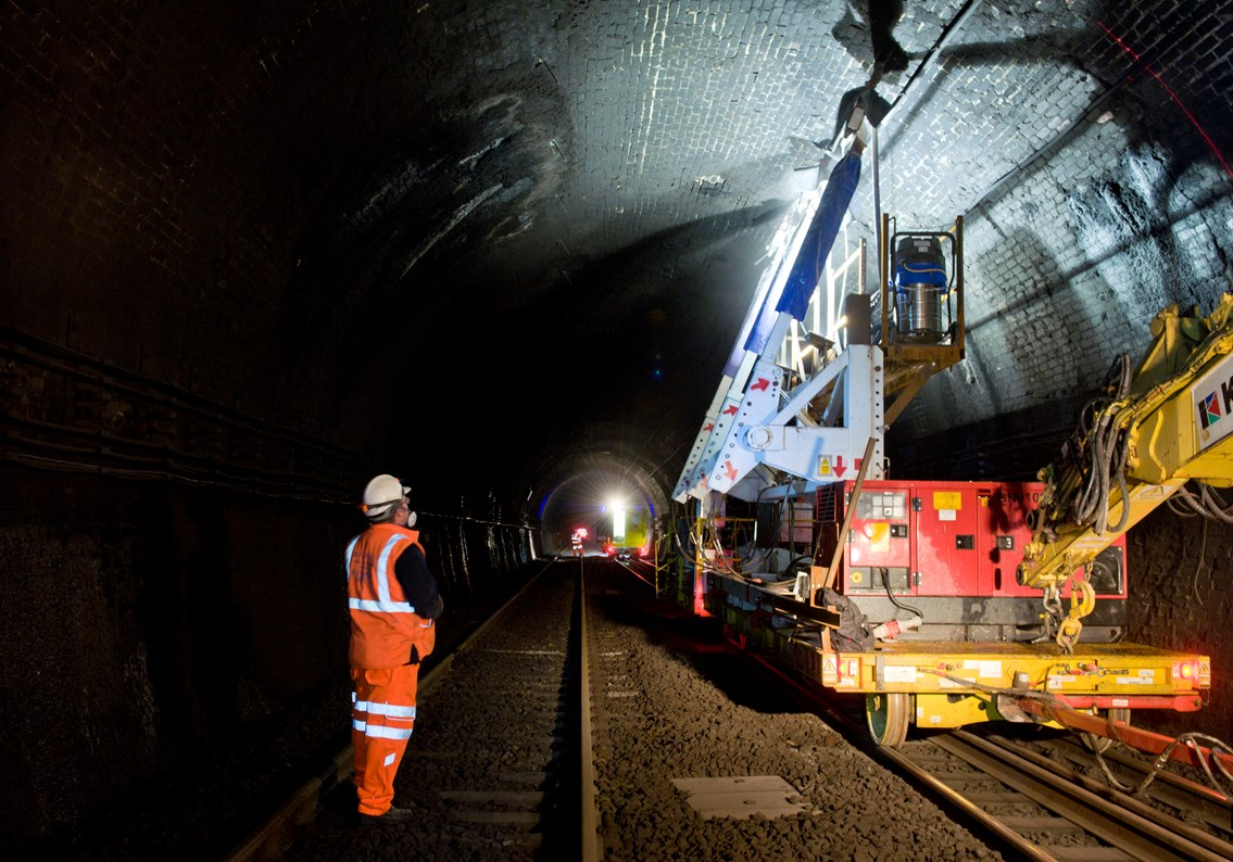 Historic rail tunnels to be upgraded as electrification of the railway moves west: Severn Tunnel Electrification Drilling Work 12