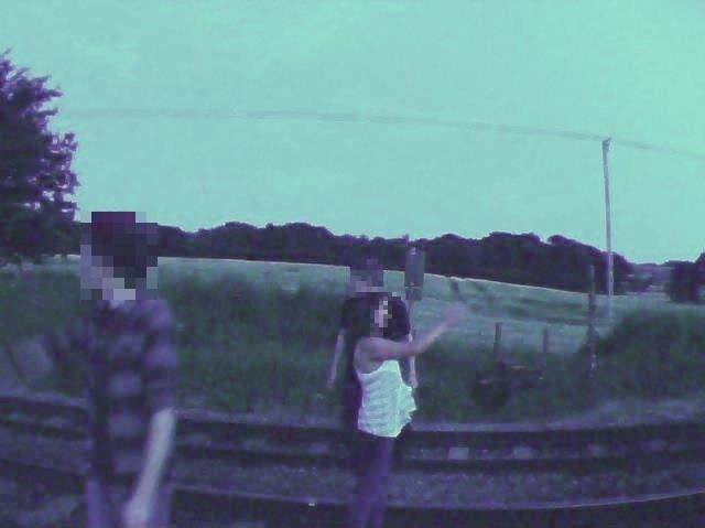 PHOTOS: Urgent warning as three people take selfies on railway near Salisbury: Selfie at West Grimstead level crossing, Salisbury (August 2016)