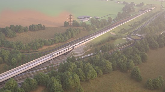 Small Dean Viaduct aerial view: CGI of Small Dean viaduct with tunnel portal in distance.