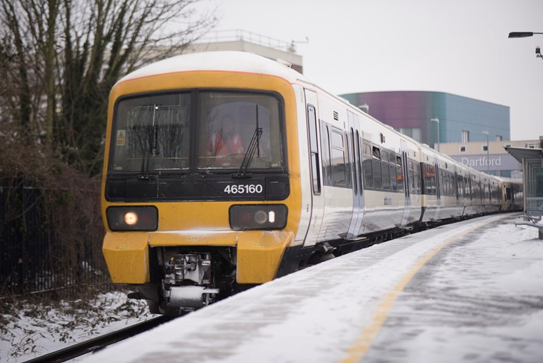 Network Rail and Southeastern respond to RAIB report into Lewisham disruption during heavy snow in March 2018: Dartford in snow