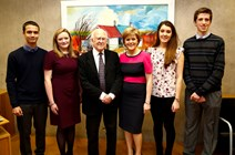 First Minister and Professor Higgs meet the Higgs Prize for Physics winners