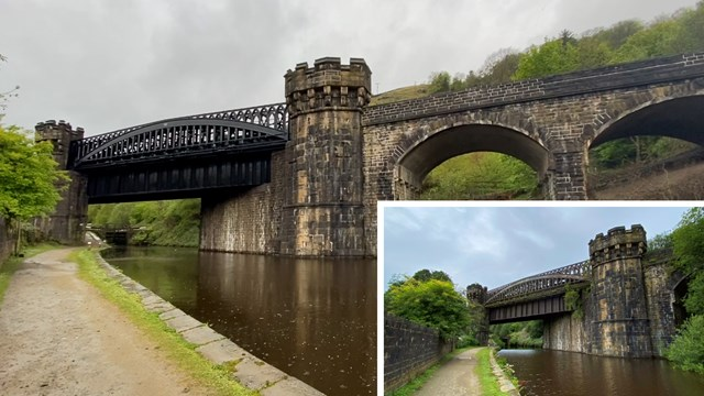 Before and after video shows historic Calder Valley viaduct restored: Gauxholme Viaduct composite (before inset)