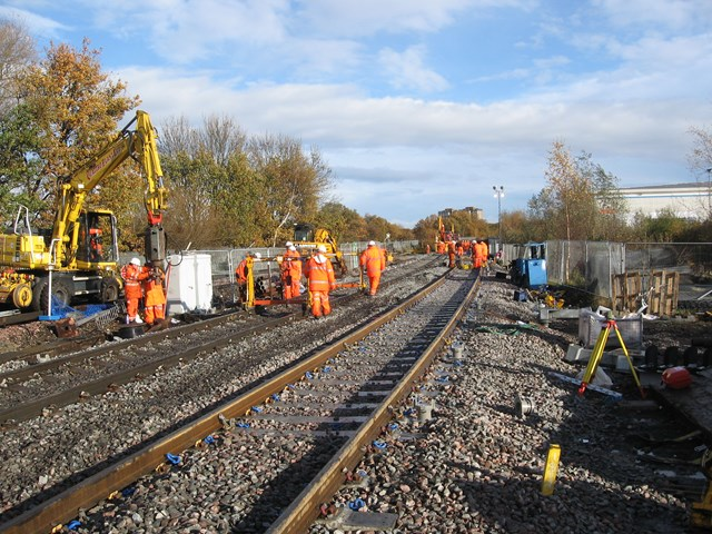 Temporary Track, Feltham: Temporary track installed to allow trains to cross the River Crane