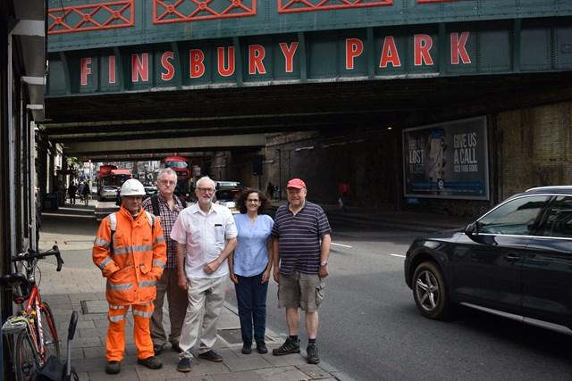 L to R -  Thomas Bennett (Network Rail) Cllr Michael Osullivan Jeremy Corbyn MP Cllr Asima Shaikh and Cllr Gary Heather