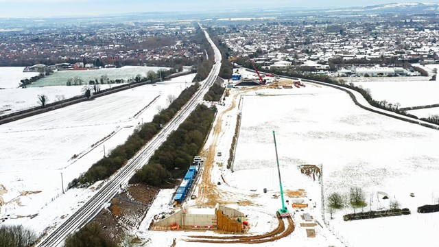 Drone shot showing preparation work for new Chiltern main line underpasses in Bicester January 2021