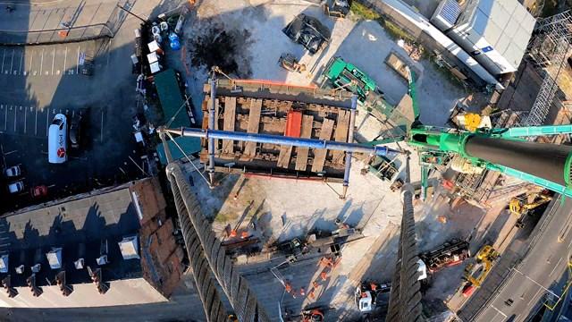 Crane's eye view of bridge being lifted out in Warrington railway renewal