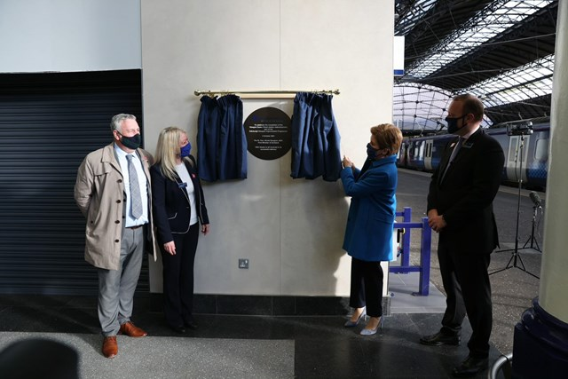 First Minister marks completion of £120m Glasgow Queen Street rebuild: GQS official opening - L to R Tommy McPake of NR, Maggie Hoey of ScotRail, First Minister Nicola Sturgeon, Alex Hynes MD Scotland's Railway