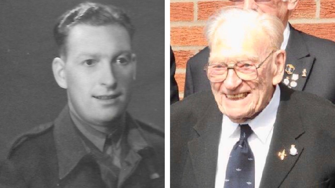 Ernie Horsfall while in WWII service and now